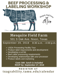 Beef Processing and Labelling Workshop @ Mesquite Field Farm | Nixon | Texas | United States