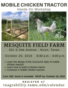 Mobile Chicken Tractor Building Workshop @ Mesquite Field Farm | Nixon | Texas | United States