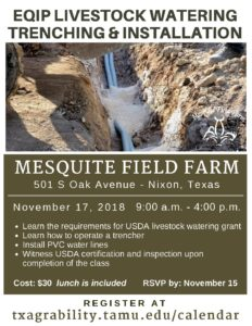 EQIP Livestock Watering Installation Workshop @ Mesquite Field Farm | Nixon | Texas | United States